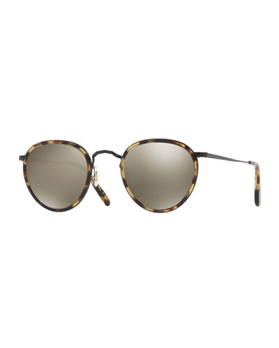MP-2 Round Metal Sunglasses, MBK/Hickory Tortoise/Graphite Gold