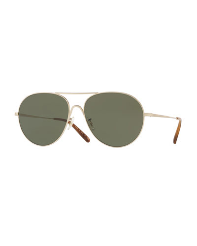Rockmore Metal Oversized Pilot Sunglasses, Gold/Green