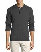 Long-Sleeve Merino Wool Polo Shirt