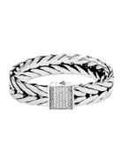 Men's Modern Chain Extra-Large Sterling Silver Bracelet with Diamonds