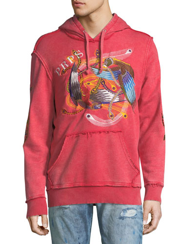 Feather-Embroidered Distressed Logo Hoodie