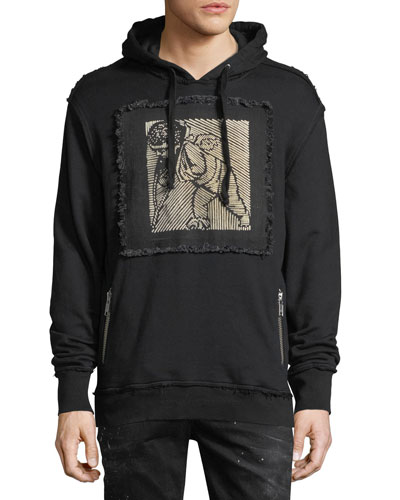 Distressed Cherub Patch Hoodie