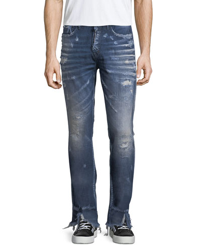Split-Hem Distressed Slim-Straight Jeans