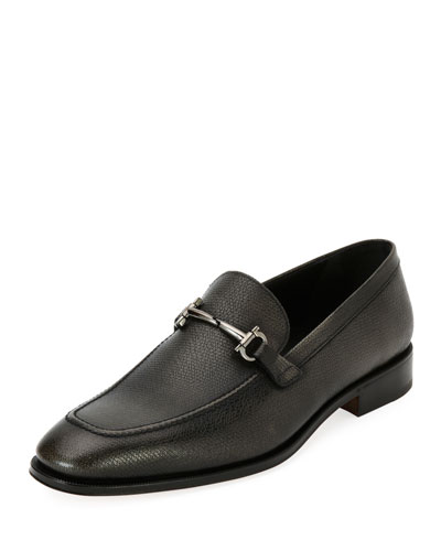 Textured Leather Gancini-Bit Loafer