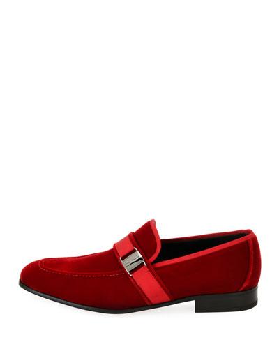 Men's Velvet Formal Loafer, Red