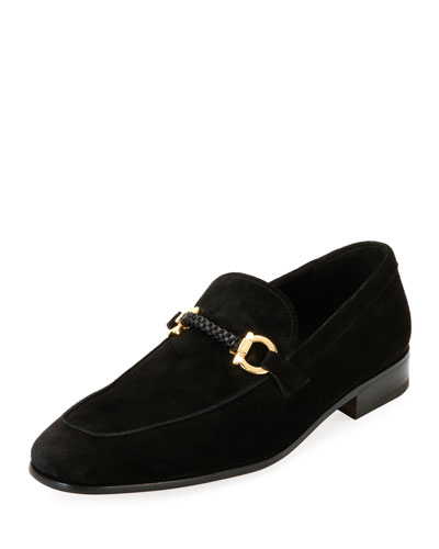 Suede Braided Gancini Loafer, Black