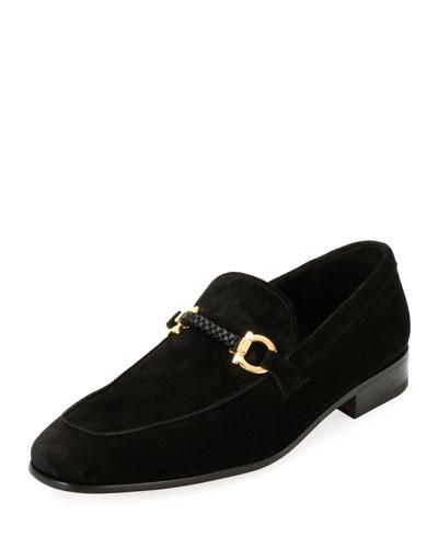 Men's Suede Braided Gancini Loafer, Black