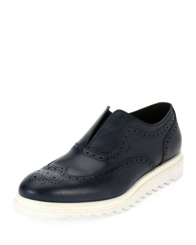 Leather Wing-Tip Slip-On Sneaker, Blue