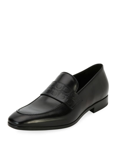 Leather Gancio-Stamped Loafer, Black