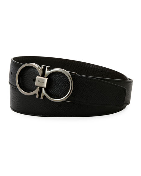 Salvatore Ferragamo Men's Classic Double-Gancio Stamped Leather Belt