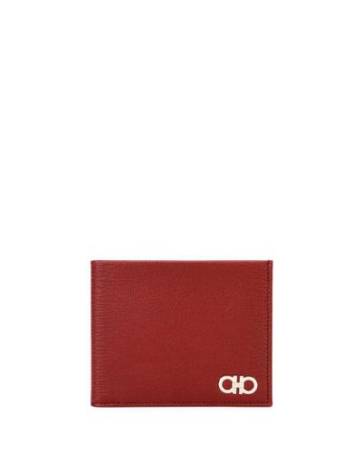 Men's Revival Gancini Bi-Fold Leather Wallet, Red
