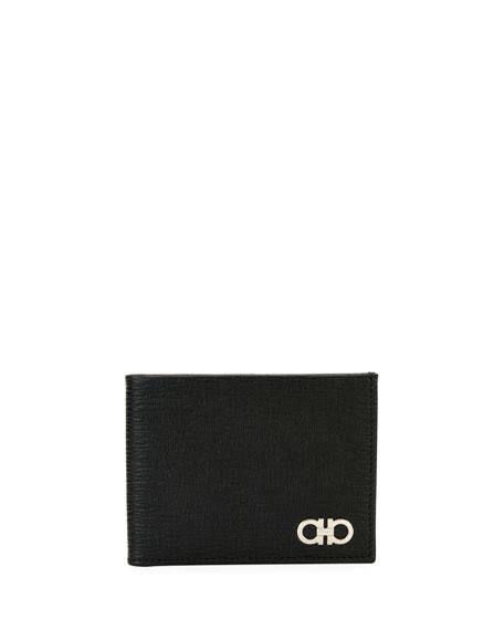 Salvatore Ferragamo Men's Revival Gancini Bi-Fold Leather Wallet, Black/Red