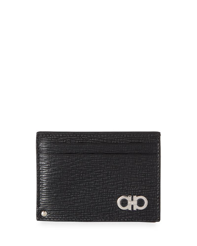 Men's Revival Gancini Leather Card Case with Flip-Out ID Window, Black/Red