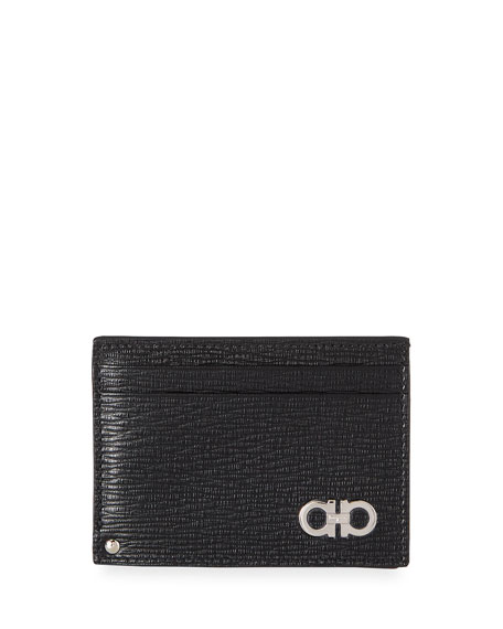 Salvatore Ferragamo Men's Revival Gancini Leather Card Case with Flip-Out ID Window, Black/Red
