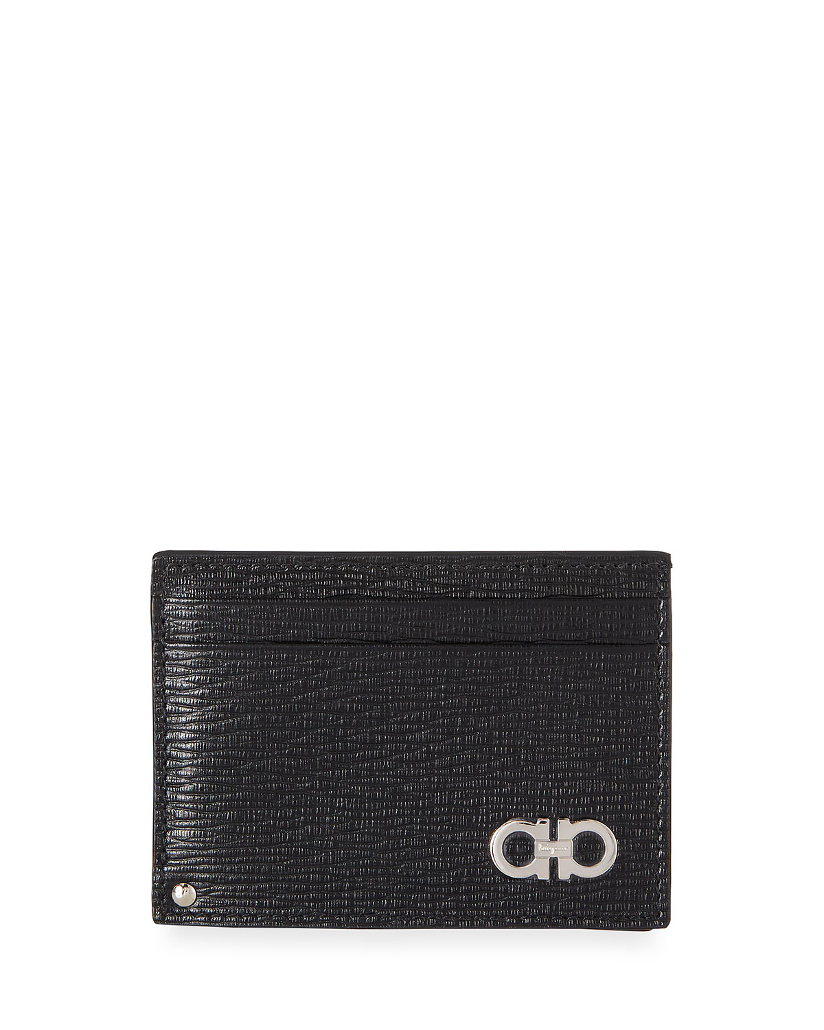 Men's Revival Gancini Leather Card Case with Flip-Out ID Window
