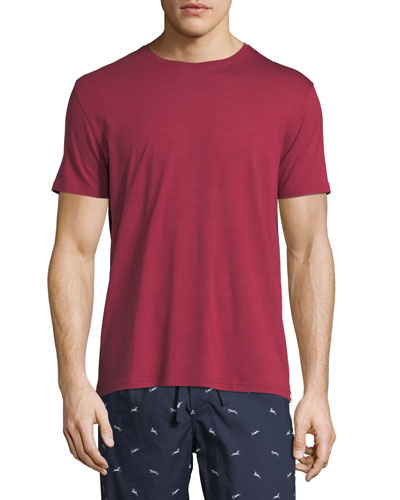 Derek Rose Basel 3 Crewneck Lounge T Shirt Red Modesens