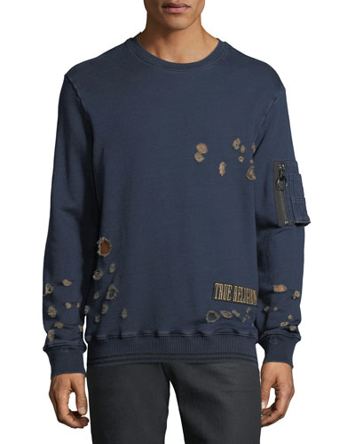 Inset-Sleeve Distressed Pullover Sweater