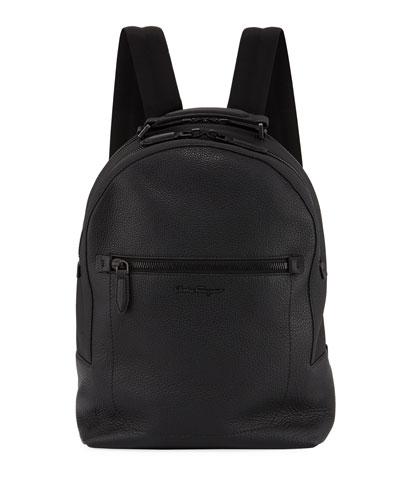 Black On Black Leather Backpack
