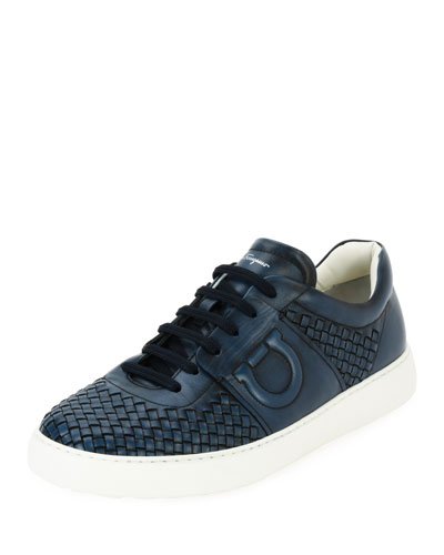 Men's Woven Leather Low-Top Sneaker, Sunset Blue (Indigo)