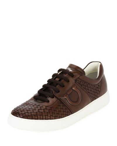 Men's Woven Leather Low-Top Sneaker, Medium Brown