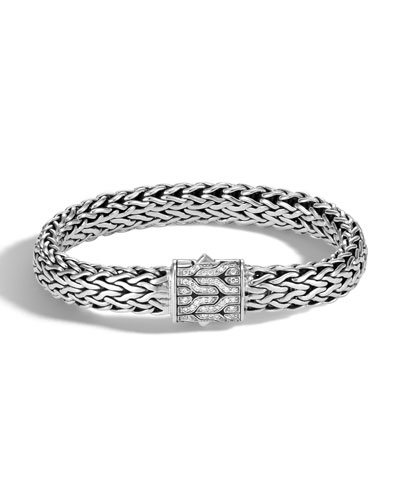 Men's Classic Chain Silver Diamond Pave Flat Chain Bracelet - Large
