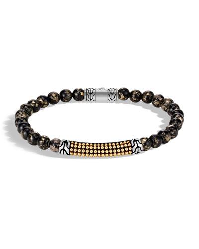Men's Classic Chain 18-Karat Gold Bead Bracelet