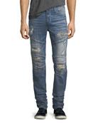 Rocco Distressed Skinny Biker Jeans