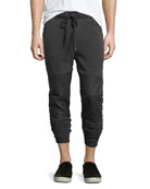 Slim-Fit Cuffed Moto Jogger Pants