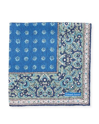 Melange Floral Neat Silk Pocket Square
