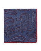 Washed Silk Paisley & Check Pocket Square, Navy
