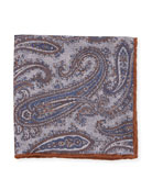 Washed Silk Paisley & Check Pocket Square, Gray