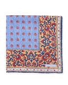 Foulard Paisley Silk Pocket Square, Light Blue