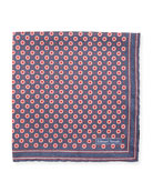 Herringbone Dot Silk Pocket Square, Navy