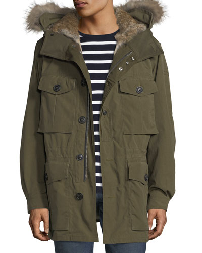 Fur-Lined Parka Coat
