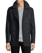Kirkham Double-Breasted Wool Pea Coat, Navy