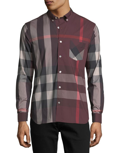 Thornaby Check-Print Shirt, Red