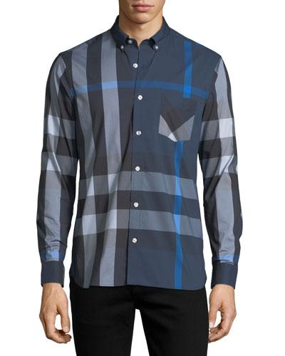Thornaby Check-Print Shirt, Blue
