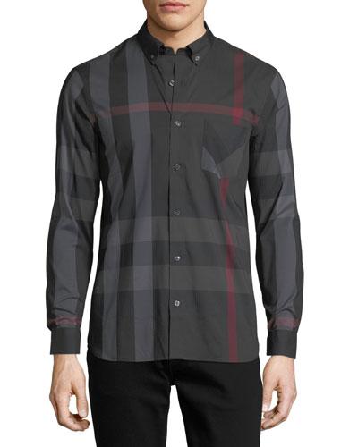 Thornaby Check-Print Shirt, Charcoal