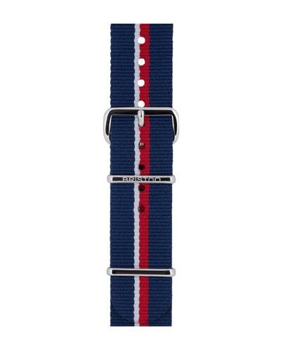 20mm Royal Navy Striped Nylon Watch Strap, Blue/Red