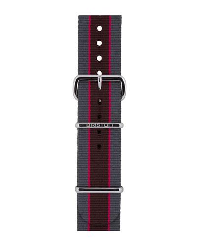 20mm Riffle Striped Nylon Watch Strap, Gray/Pink/Brown