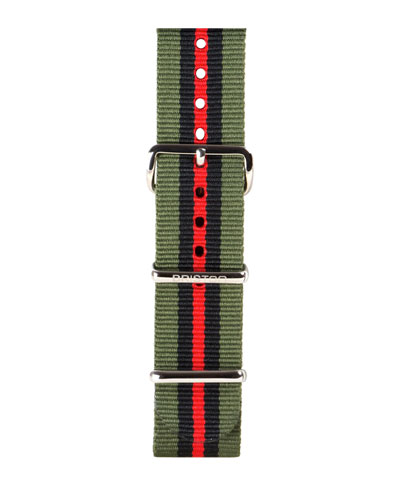 20mm Striped Nylon Watch Strap, Green/Black/Red