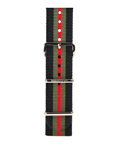 20mm Striped Nylon Watch Strap, Black/Green/Red