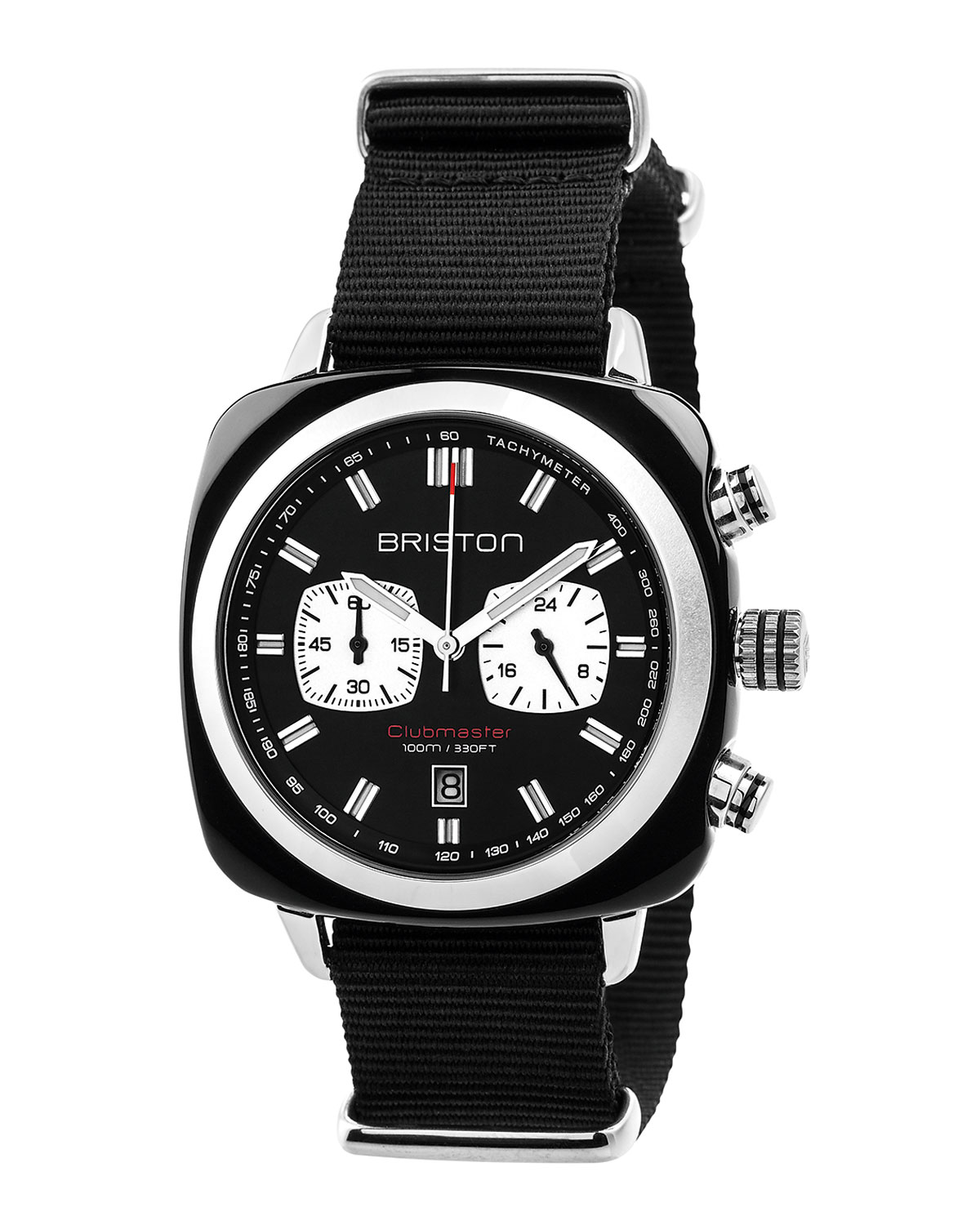 Clubmaster Sport Acetate Chronograph Watch, Black/White