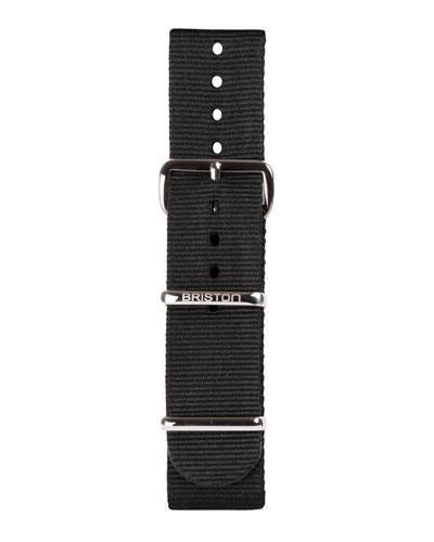 20mm Nylon NATO Watch Strap w/ Polished Buckle, Black