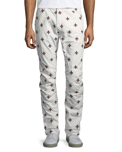 Fleur-de-Lis Embroidered Jeans