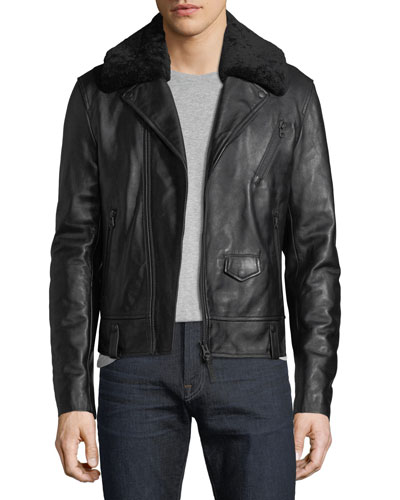 Leather Moto Jacket w/ Removable Shearling Collar