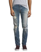 Vaughn Skinny Ankle-Zip Destructed Jeans