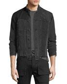Blaine Distressed Cropped Denim Jacket