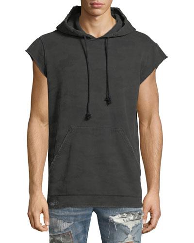 Cutoff-Sleeve Pullover Hoodie, Downturn