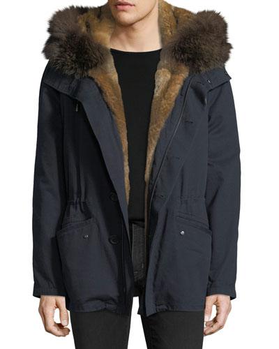 Cotton Jacket w/ Fur Details